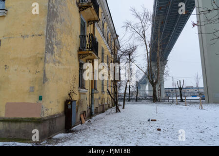 Western High-Speed Diameter over the houses on Kanonersky Island in winter in Saint Petersburg. Russia, - Stock Photo