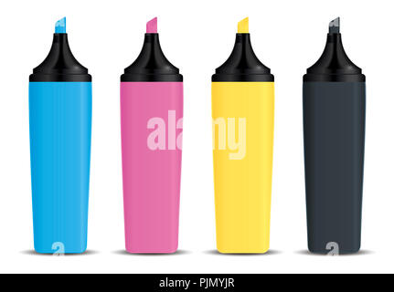 An image of four nice CMYK marker - Stock Photo