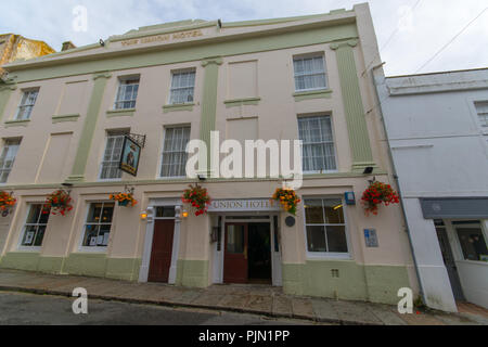 Front of the Union Inn Hotel on Chape Street in Penzance. Famously associated with Nelson - Stock Photo