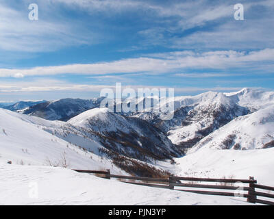 Ski resort of the Val d'Allos in the french Alpes - Stock Photo