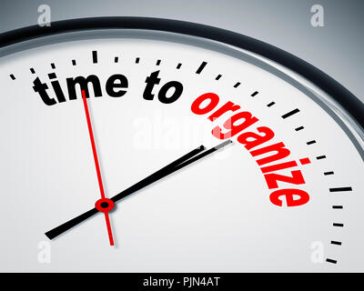 'A simple figure sheet with the label: ''time to organise''', Ein simples Ziffernblatt mit der Aufschrift: 'time to organize' - Stock Photo