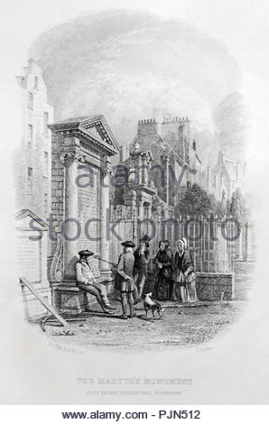 The Martyr's monument, Greyfriars Churchyard Edinburgh, antique illustration from 1874 - Stock Photo
