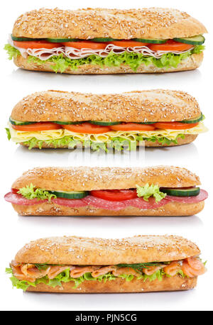 Collection of baguettes with salami ham cheese salmon fish lateral portrait format isolated on a white background - Stock Photo