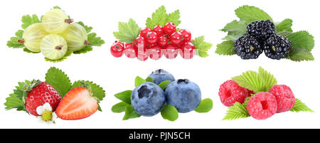 Collection of berries strawberries blueberries berry fruits fruit isolated on a white background - Stock Photo