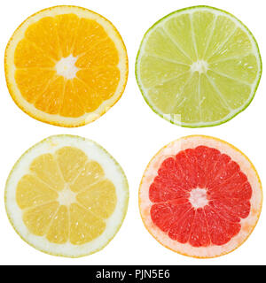 Collection of citrus fruits orange lemon slices sliced square isolated on a white background
