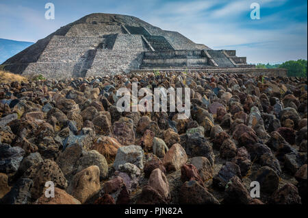 The Pyramid of the Moon is the second largest pyramid in modern-day San Juan Teotihuacán, Mexico, after the Pyramid of the Sun. - Stock Photo