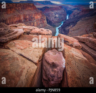 Grand Canyon from Toroweap Point. The Grand Canyon is a steep-sided canyon carved by the Colorado River in the state of Arizona. - Stock Photo
