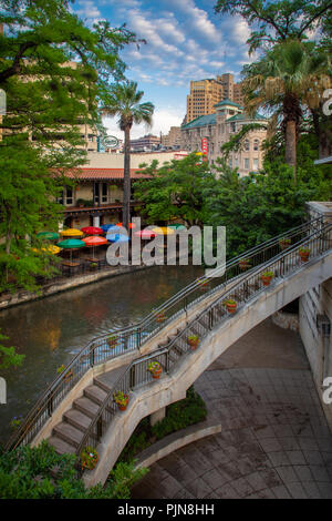 The San Antonio River Walk (also known as Paseo del Río) is a network of walkways along the banks of the San Antonio River. - Stock Photo