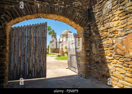 Mission San José y San Miguel de Aguayo is a historic Catholic mission in San Antonio, Texas, USA. The mission was named in part for the Marquis de Sa - Stock Photo