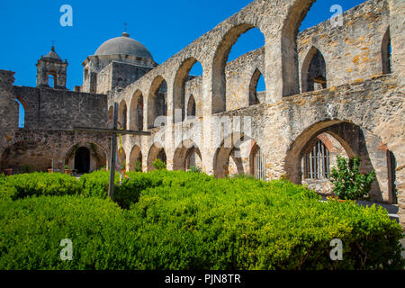 Mission San José y San Miguel de Aguayo is a historic Catholic mission in San Antonio, Texas, USA. - Stock Photo