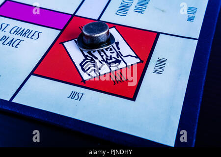 Monopoly Property Trading board game from Parker Brothers. The classic real estate trading game from Parker Brothers. - Stock Photo