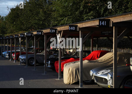Goodwood, West Sussex, UK. 8th September 2018. early morning paddock atmosphere at the 20th Goodwood Revival in Goodwood, West Sussex, UK. © Malcolm Greig/Alamy Live News - Stock Photo