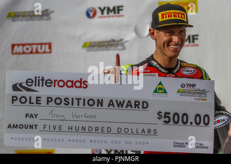 Victoria, Australia. 8th September 2018. Troy Herfoss racing for Penrite Honda Racing riding his Honda CBR1000SP takes pole position for round six of the 2018 Australian Superbike Championships. Credit: brett keating/Alamy Live News - Stock Photo