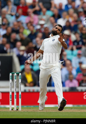 Kia Oval, London, UK. 8th Sep, 2018. Specsavers International Test Match Cricket, 5th test, day 2; Mohammed Shami of India Credit: Action Plus Sports/Alamy Live News - Stock Photo