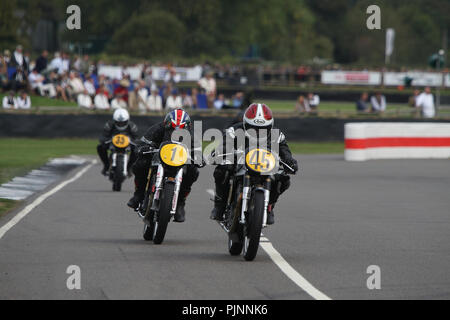 Goodwood, West Sussex, UK. 8th September 2018. Barry Sheene memorial trophy part 1 at the 20th Goodwood Revival in Goodwood, West Sussex, UK. © Malcolm Greig/Alamy Live News - Stock Photo