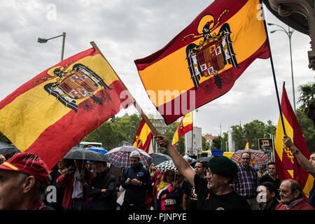 Madrid, Spain. 8th September, 2018. People protesting with flags of Franco's times against the removal of dictator Franco's remains from the Valley of the Fallen, in Madrid, Spain. Credit: Marcos del Mazo/Alamy Live News - Stock Photo
