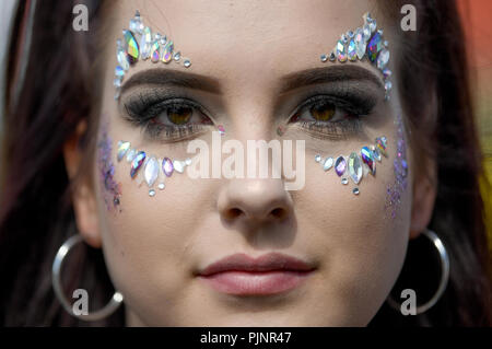 Berlin, Germany. 08th Sep, 2018. Dominique wears face jewellery at the two-day music festival Lollapalooza on the grounds of the Olympic Park. Credit: Britta Pedersen/dpa/Alamy Live News - Stock Photo