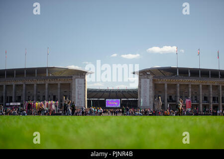 Berlin, Germany. 08th Sep, 2018. The first visitors come to the two-day music festival Lollapalooza on the grounds of the Olympic Park. Credit: Gregor Fischer/dpa/Alamy Live News - Stock Photo