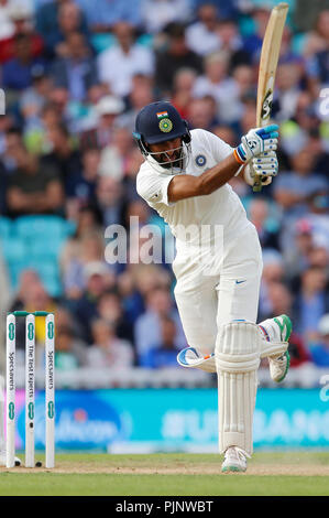 Kia Oval, London, UK. 8th Sep, 2018. Specsavers International Test Match Cricket, 5th test, day 2; Cheteshwar Pujara of India Credit: Action Plus Sports/Alamy Live News - Stock Photo