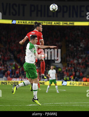Cardiff, UK. 7th Sep, 2018. Gareth Bale seen in action during the Wales v Ireland game at Cardiff City Stadium.Wales beat Ireland, 4:1. Credit: Graham Glendinning/SOPA Images/ZUMA Wire/Alamy Live News - Stock Photo