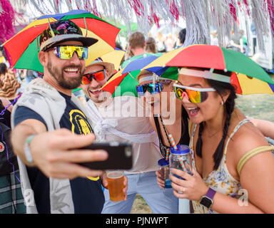 Berlin, Germany. 08th Sep, 2018. Visitors to the two-day music festival Lollapalooza on the grounds of the Olympic Park take a selfie. Credit: Gregor Fischer/dpa/Alamy Live News - Stock Photo