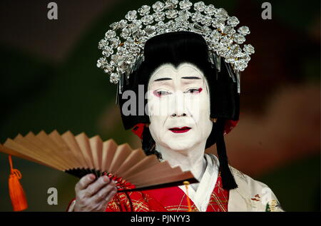 Moscow, Russia. 08th Sep, 2018. MOSCOW, RUSSIA - SEPTEMBER 8, 2018: A scene from the Keisei Hangonko production, a Shochiku Grand Kabuki performance by Chikamatsuza Troupe, as part of the Chekhov International Theatre Festival at the Mossovet Theatre. The production is performed as part of the Japan-Russia cross cultural year of 2018. Valery Sharifulin/TASS Credit: ITAR-TASS News Agency/Alamy Live News - Stock Photo