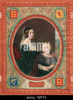 Queen Victoria with Albert Edward, Prince of Wales, the future King Edward VII,  circa 1844-5 - Stock Photo
