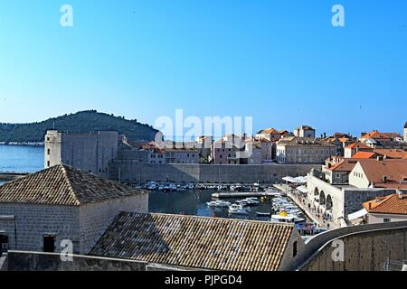 Views of the harbour entrances to Dubrovnik Old town, Croatia. - Stock Photo