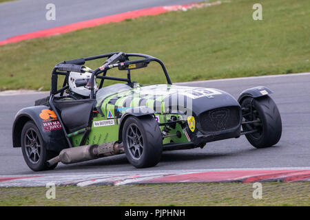 2012 Caterham Supersport Class B with driver Pete Basterfield during the CSCC Gold Arts Magnificent Sevens race at Snetterton, Norfolk, UK. - Stock Photo