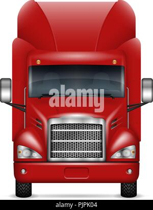 Semi trailer truck front view on white background. Isolated red lorry realistic vector illustration. All elements in the groups on separate layers - Stock Photo