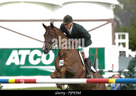 The National, Spruce Meadows June 2002, Eddie Macken (IRE) riding Zeline - Stock Photo