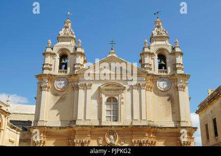 St. Paul's Cathedral in Mdina, Malta - Stock Photo