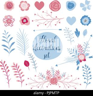 Love collection set for cards. Perfect for valentines day, stickers, birthday, save the date invitation. - Stock Photo