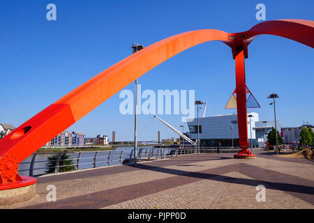The Steel Wave Sculpture City Footbridge and University of South Wales River Usk Newport Gwent Wales - Stock Photo