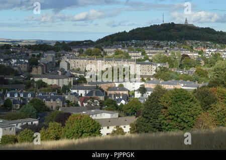 View from Balgay Hill over Lochee with Cox's Stack, Dundee, Scotland, September 2018 - Stock Photo