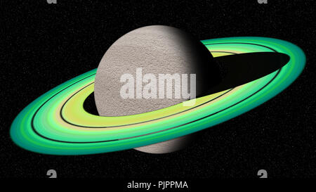 Saturn like planet in deep space - Stock Photo