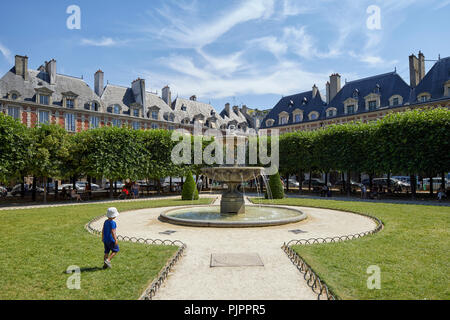 Northeastern Fountain by Jean-Pierre Cortot in Place des Vosges, Paris, France, Europe - Stock Photo