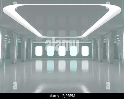Abstract modern architecture background, empty open space interior. 3D rendering - Stock Photo
