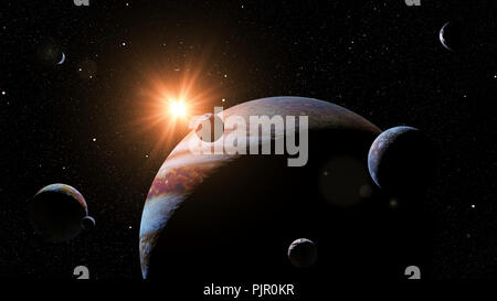 planet Jupiter with some of the 69 known moons lit by the Sun (3d space illustration, elements of this image are furnished by NASA) - Stock Photo