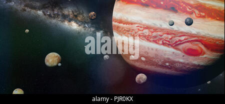planet Jupiter with some of the 69 known moons with the Milky Way galaxy (3d space illustration, elements of this image are furnished by NASA) - Stock Photo