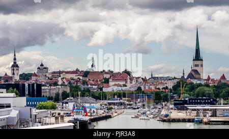 Beautiful panoramic view of the Old Town of Tallinn, Estonia, from the port area - Stock Photo
