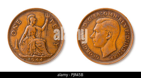 A british one penny coin from 1944 with king George VI. - Stock Photo