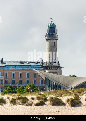 Rostock, Germany - May 26, 2017: Warnemunde Lighthouse, situated on the estuary of the Warnow river, a district in the borough of Rostock, Mecklenburg - Stock Photo