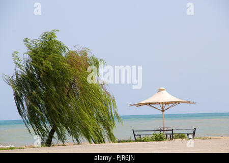 photo of Beautiful view of the Caspian Sea in  Ramsar city in Islamic Republic of Iran, and Umbrella and terrace and a tree and Caspian Sea. - Stock Photo