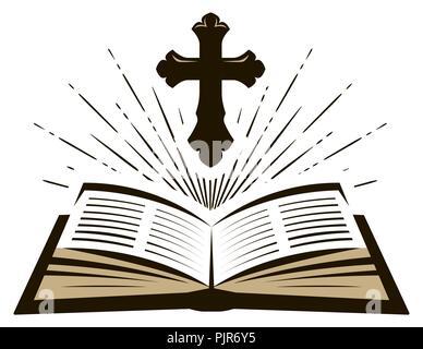 Holy Bible symbol. Worship, church, psalm icon. Vector illustration - Stock Photo