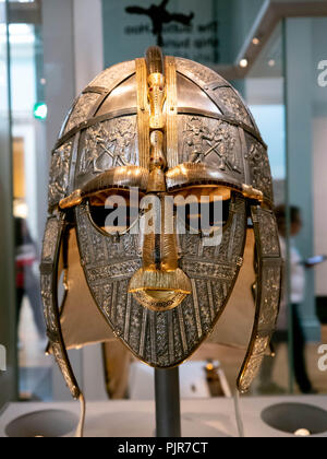 A replica of the Sutton Hoo helmet at the British Museum, England - Stock Photo