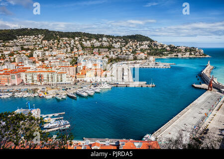 City of Nice in France, view above Port of Nice on French Riviera - Stock Photo