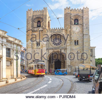 Lisbon, Portugal - June 21, 2018: Ancient cathedral was built by Portugal's first king on the site of an old mosque in 1150. - Stock Photo