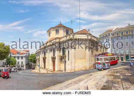 Lisbon, Portugal - June 21, 2018: View of the street Largo da Se from the Cathedral. - Stock Photo