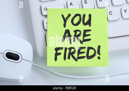 You are fired employee losing jobs, job working unemployed business concept mouse computer keyboard - Stock Photo